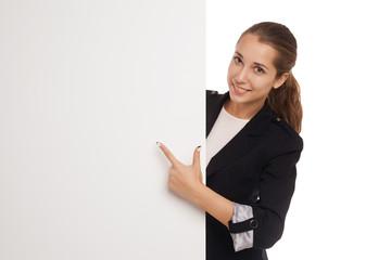 Beautiful business woman holding blank billboard