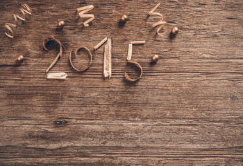Happy New Year 2015  vintage wood
