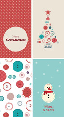 four Christmas cards with creative christmas tree made of