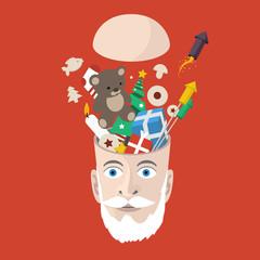 Thinking of christmas & new year, creative illustration