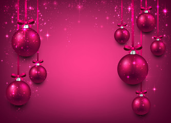 Background with magenta christmas balls.