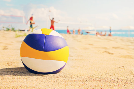 beach volleyball ball in sands