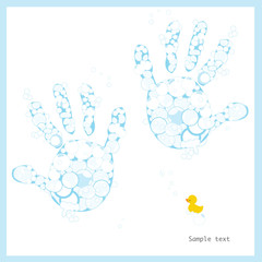 Baby boy hand prints with soap bubbles and duck vector