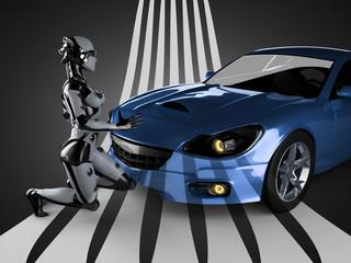 luxury brandless sport car and woman robot