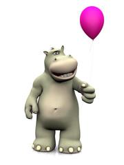 Cartoon hippo holding a balloon.
