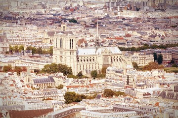 Paris aerial view with Notre Dame