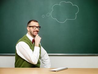 Male nerd thinking