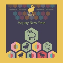 sheep on the background of hexagons infographics