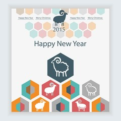 sheep on the background of hexagons infographics calendar