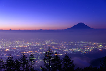 Lights of the Kofu city and Mt.Fuji before dawn
