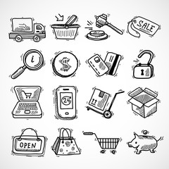 Shopping e-commerce sketch icons set