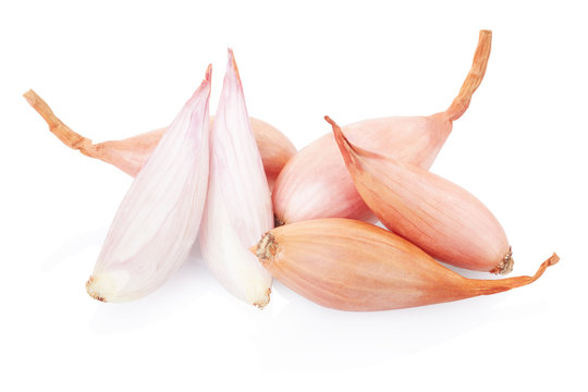 Shallot onions and half on white, clipping path