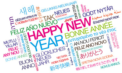 Happy New Year words text tag cloud colorful