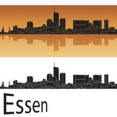 Essen skyline in orange background