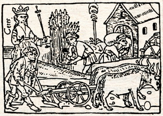 """Medieval draving """"Plowing and harvesting"""""""
