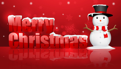 Christmas background with snowman.vector
