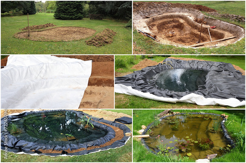 construction d 39 un bassin de jardin photo libre de droits sur la banque d 39 images. Black Bedroom Furniture Sets. Home Design Ideas