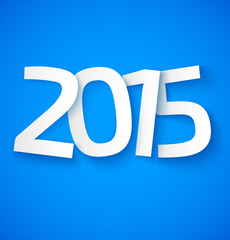 Happy new year 2015 paper text on blue background