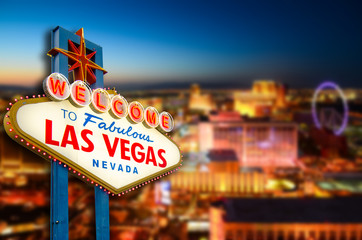 Foto auf AluDibond Las Vegas Welcome to Never Sleep city Las Vegas