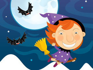 Cartoon happy halloween scene - with witch or sorceress flying - like party - illustration for children
