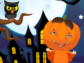 Cartoon halloween scene with happy kid - illustration for children