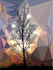 Winter background of polygons with bare tree and sunset