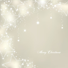 Christmas stars on silver background. Vector