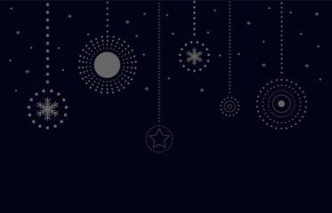 Dark Blue Merry Christmas Card Vector