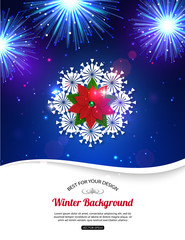 Shining Christmas background with fireworks, poinsettia and