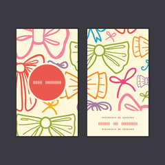 Vector colorful bows vertical round frame pattern business cards