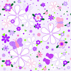 Seamless floral pattern in violet tones