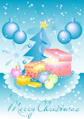 Greeting card with gift box, balls and tree on Christmas