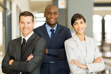 afro american businessman with co-workers