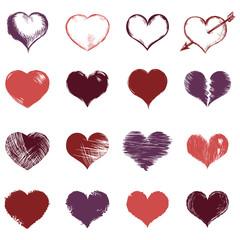 Vector Set of Sketch Hearts
