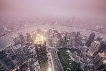 Aluminium Prints Shanghai Shanghai, China City Skyline