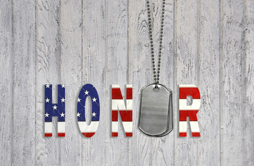 flag honor with military dog tags