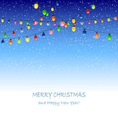 Christmas lights and snow