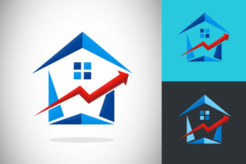 house for sale business arrow logo vector