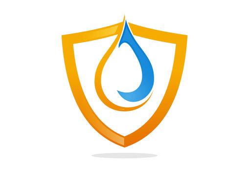 shield water drop symbol protect vector logo template icon