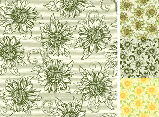 Vintage floral patterns with Sunflowers at engraving style