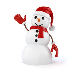 3d happy snowman with santa hat and gloves on white background