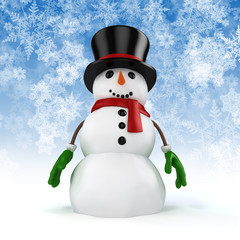 3d happy snowman on snowflakes background