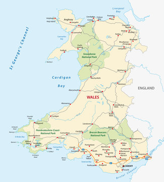 wales road and national park map