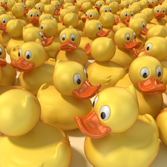 rubber ducks 3d illustration