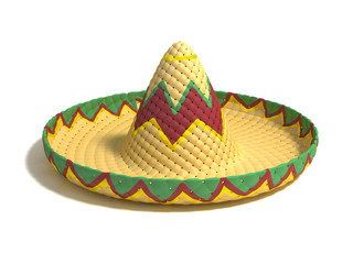 mexican hat sombrero 3d illustration