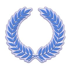Embossed laurel wreath in blue