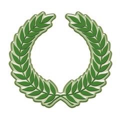 Embossed laurel wreath in green