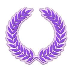 Embossed laurel wreath in purple