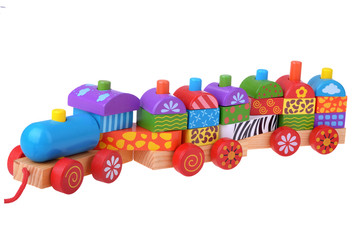 Wooden toy train with colorful blocks
