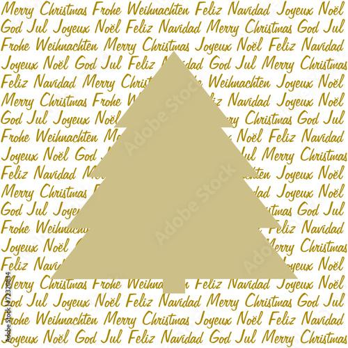 Weihnachtsgrüße Als Tannenbaum.Goldener Tannenbaum Auf Weihnachtsgrüße In 5 Sprachen Stockfotos